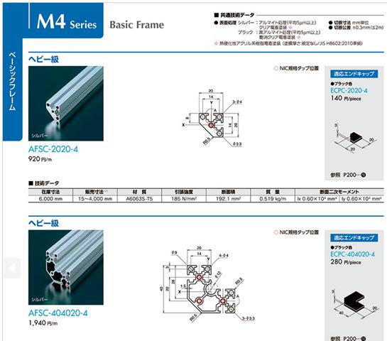 ベーシックフレーム_M4シリーズ_ヘビー級_AFSC-2020|エヌアイシ・オートテック|MISUMI-VONA【ミスミ】
