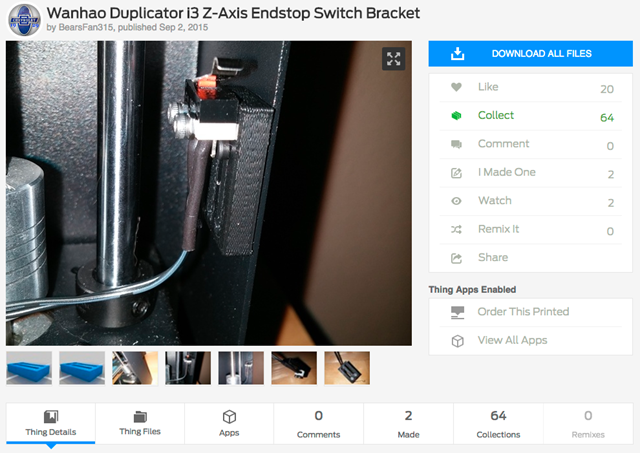 Wanhao_Duplicator_i3_Z-Axis_Endstop_Switch_Bracket_by_BearsFan315_-_Thingiverse